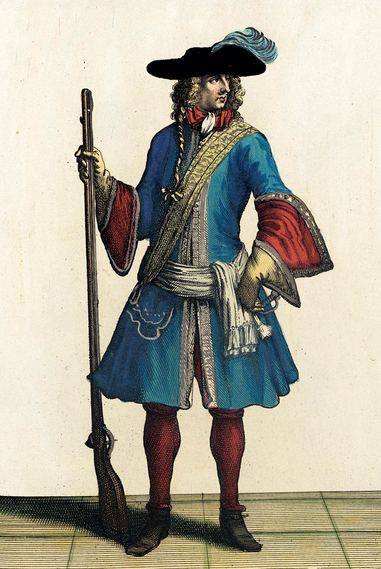 Recueil_des_modes_de_la_cour_de_France,_'Garde_du_Corps_du_Roy'_LACMA_M.2002.57.103